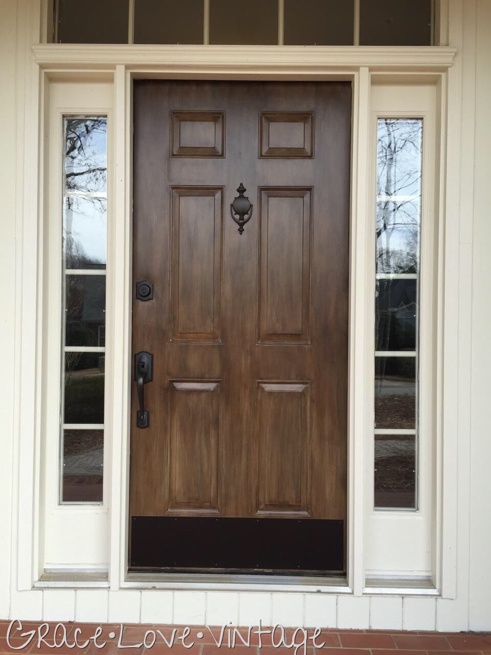 Metal Door Transformation Cali Taupe Covered With Layers Of Jet Black And Chestnut Glaze To Give Metal Doors Exterior Wood Exterior Door Painting Metal Doors