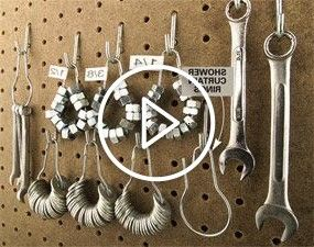 shower curtain rings ($2 for a 12-pack at a home center) can organize and conveniently display nuts and washers on your pegboard.Old-fashioned shower curtain rings ($2 for a 12-pack at a home center) can organize and conveniently display nuts and washers on your pegboard.