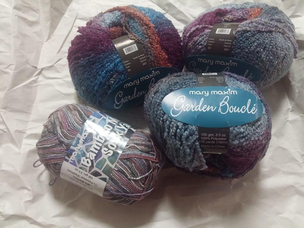 Lot Of 3 Skeins Mary Maxim Garden Boucle Yarn Plus Bonus Mary Maxim Bamboo  Sock #