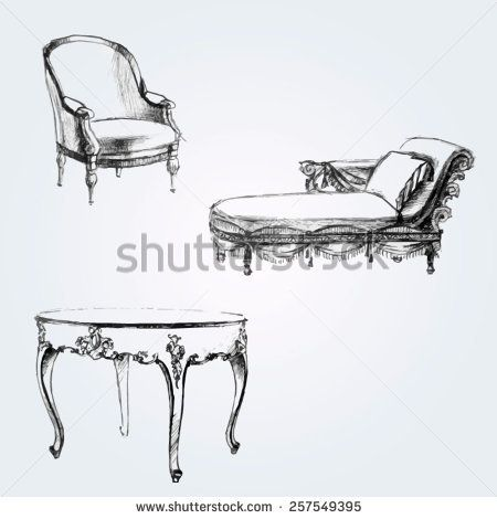 Graphic silhouettes of furniture. Hand drawn set