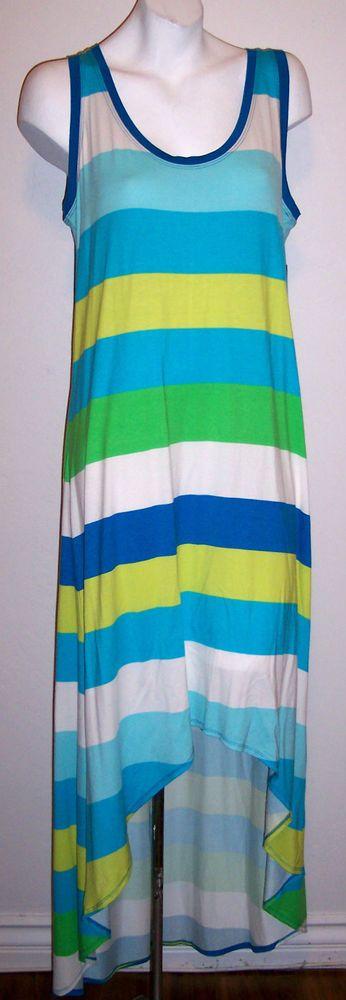 NY Co Dress L New Striped Stretch Knit Hi Lo Sleeveless Tank Sundress NWT $59.95 #NewYorkCompany #Shift #Casual