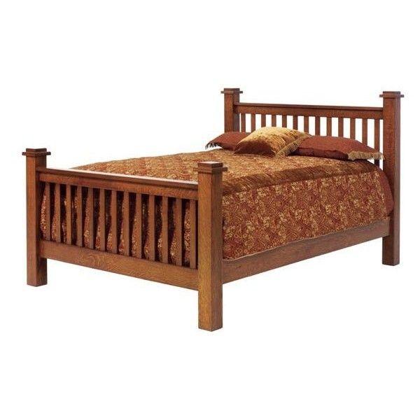 Amish Old English Vintage Mission Bed (\u20ac1630) ❤ liked on Polyvore