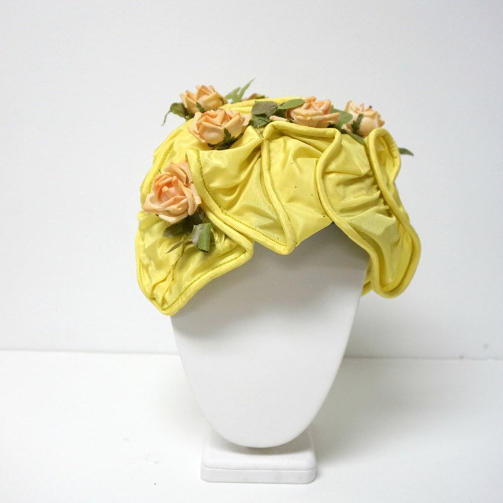 1950s whimsy orange hat with a big faux rose SALE!!