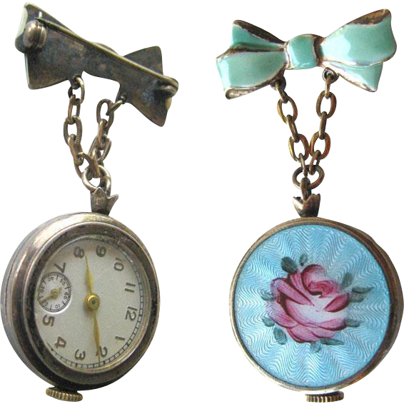 Guilloche Enameled Rose Watch Pin In Working Condition