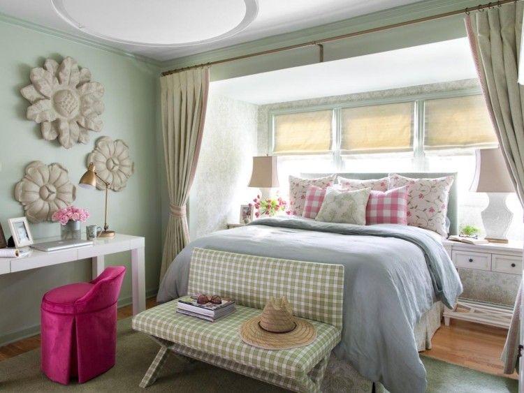 Shclafzimmer im Shabby Chic Stil und Pastellfarben Grün