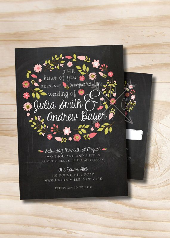 VINTAGE BLACKBOARD Chalkboard Floral Wreath Wedding Invitation and ...