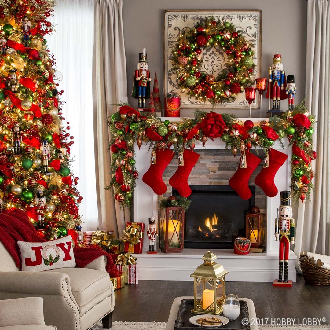 Hobby Lobby Christmas decorations, Christmas mantels