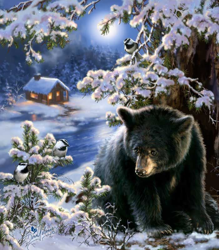 image result for black bear chickadees snow winter cabin. Black Bedroom Furniture Sets. Home Design Ideas