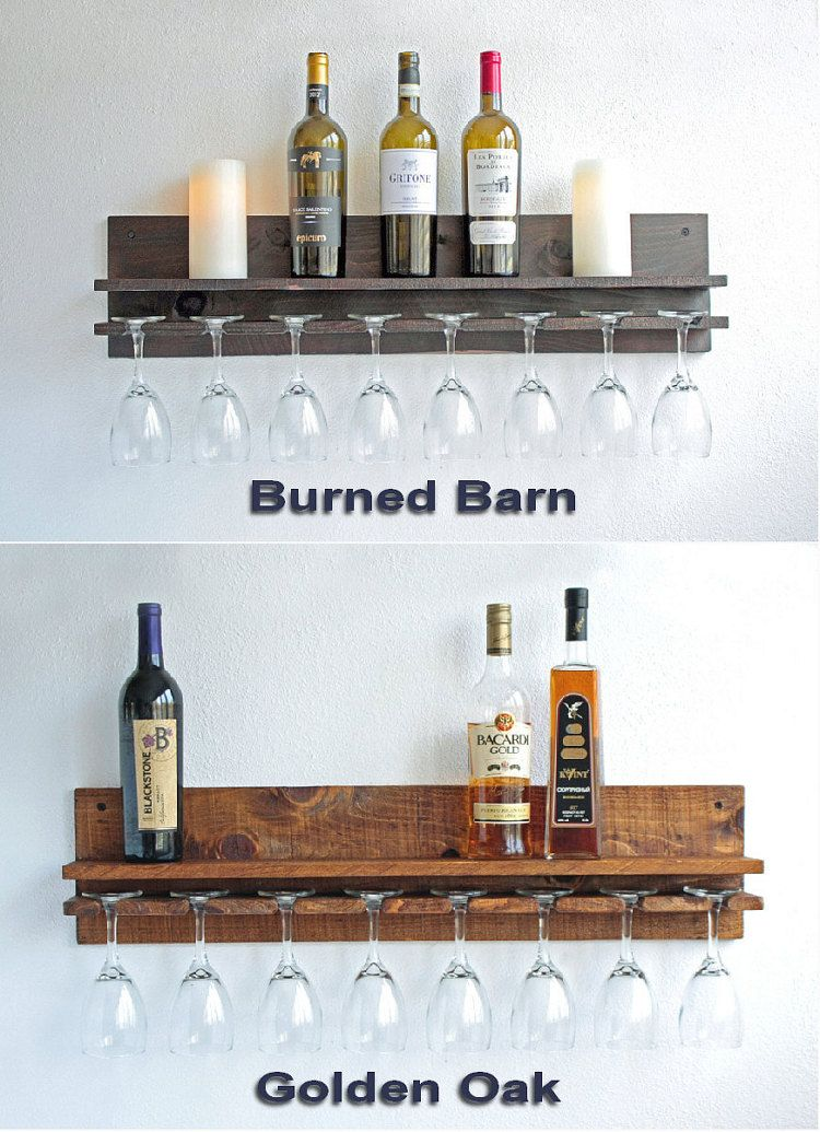 Rustic Wall Wine Rack Shelf Hanging Wine Glass Holder Wood Wine