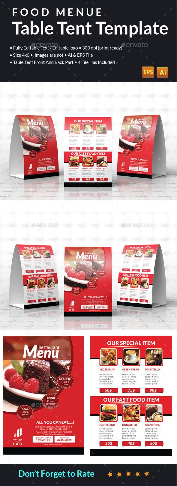 Food Menu Table Tent  Table Tents Menu Templates And Template
