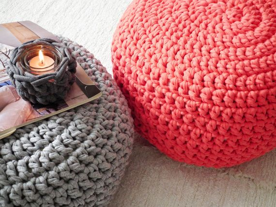 Strange Bright Coral Crochet Round Pouf Ottoman Chunky Footstool Cjindustries Chair Design For Home Cjindustriesco