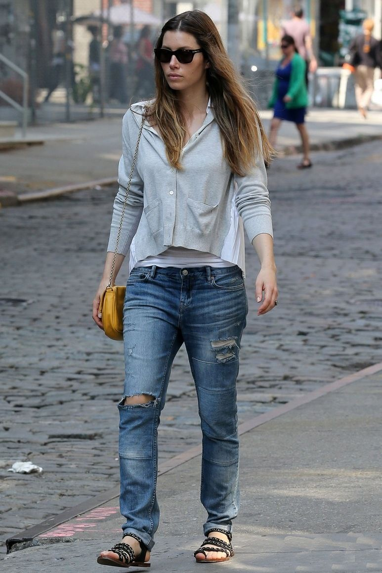 e2983e911b Jessica Biel was snapped wearing her All Saints Patch Casey Jeans in New  York City. Relaxed