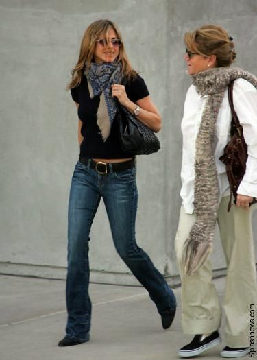 9bad2e87e6d Jennifer Aniston...so simple yet stylish..jeans, tee, belt, boots,  scarf=perfection