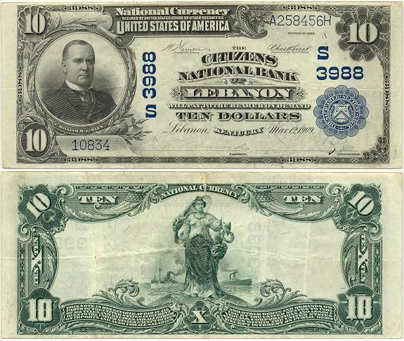 Kentucky National Bank Note Paper currency, Money notes