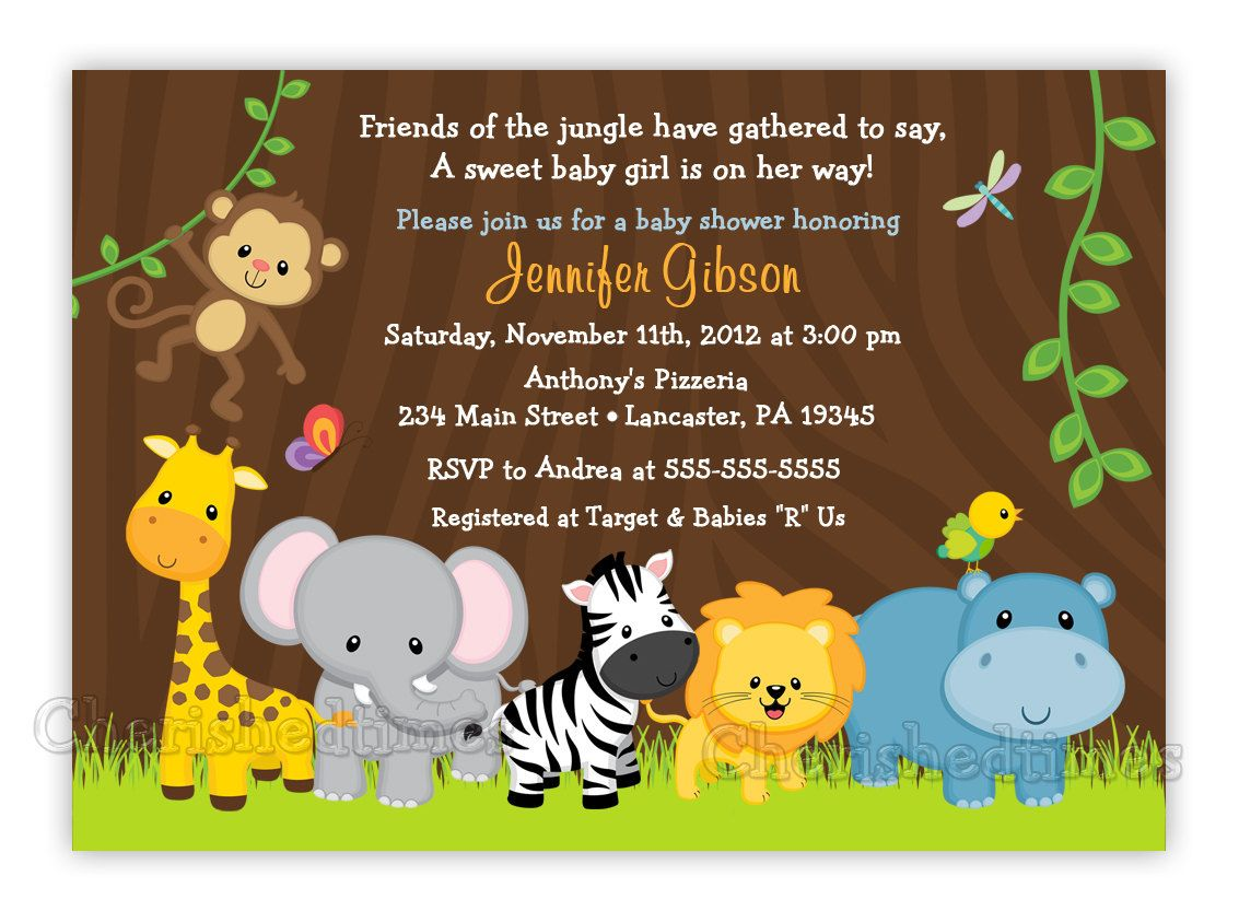 Jungle Friends Girl or Boy Baby Shower or Birthday Invitation