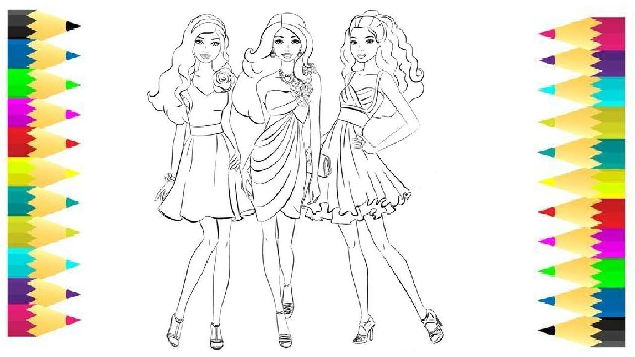 Coloring Pages Barbie And Her Friends Coloring Book Videos For Children Coloring Books Coloring Pages Learning Colors