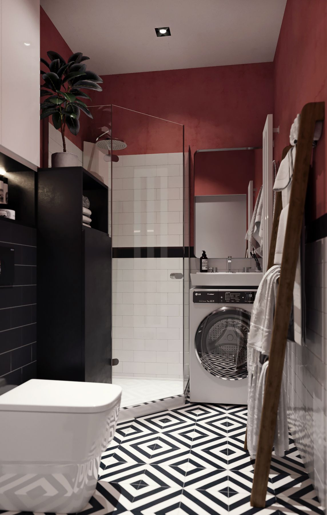Four Modest Sized Homes Going Big On Style Burgundy Bathroom