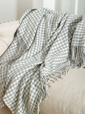 Grey Houndstooth Throw available at bleuspruce.com