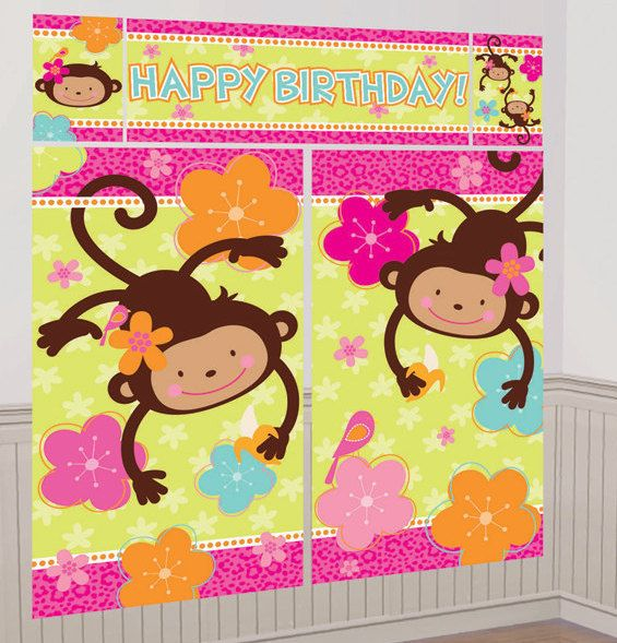 Pink Mod Monkey Love Giant Scene Setter Wall Decorating Kit 5ct