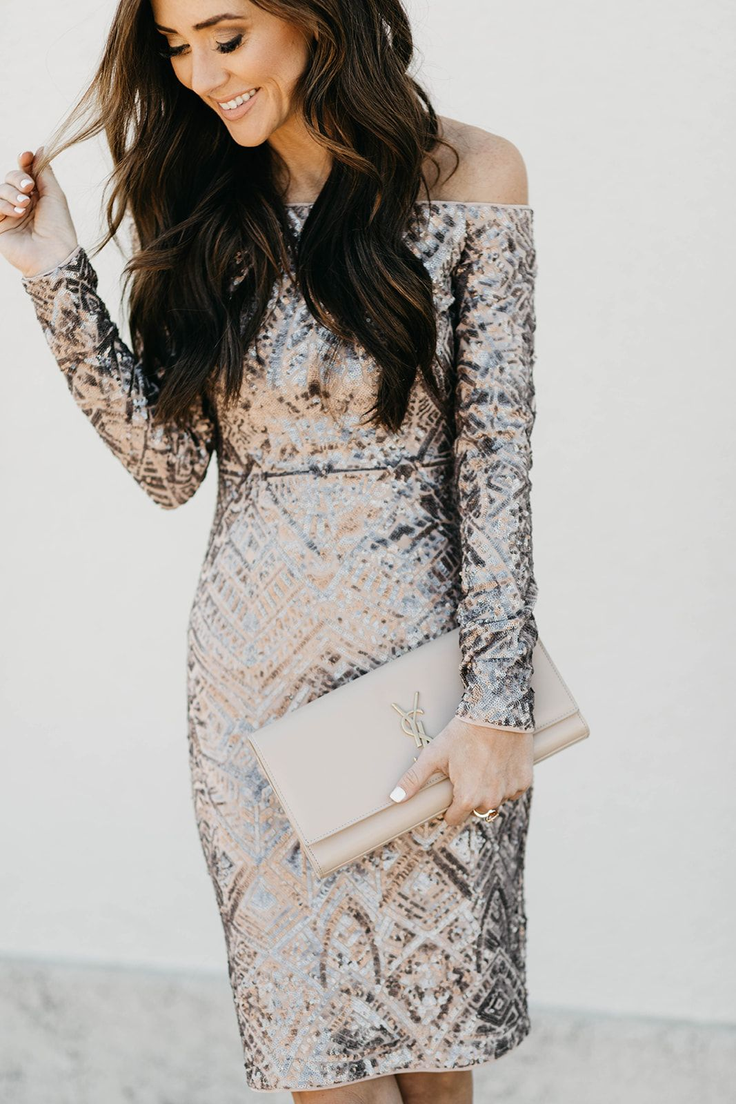 Sequined Nye Dress Wedding Attire Guest Eve Outfit New Years Eve Outfits [ 1600 x 1067 Pixel ]