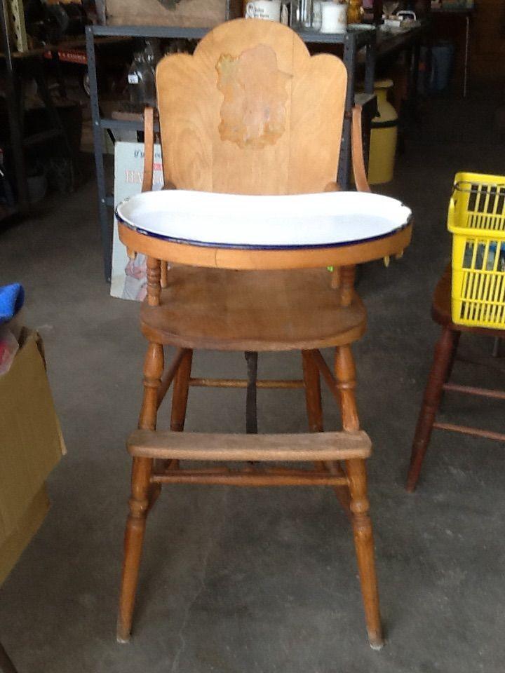 Antique wooden high chair in pbutterflys garage sale