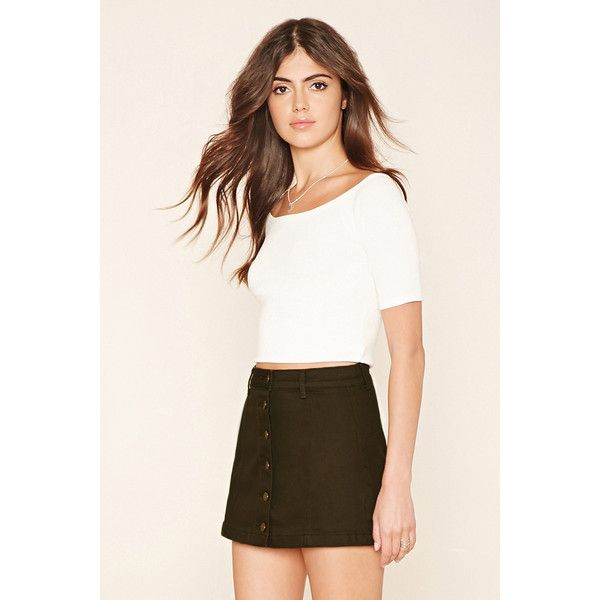 Forever21 Button-Front Denim Mini Skirt (330 MXN) ❤ liked on Polyvore  featuring