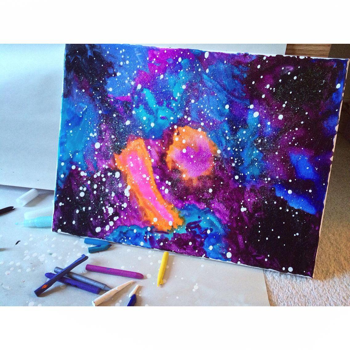 Galaxy Crayon Art Crayon Art Melted Crayon Art Melting Crayons