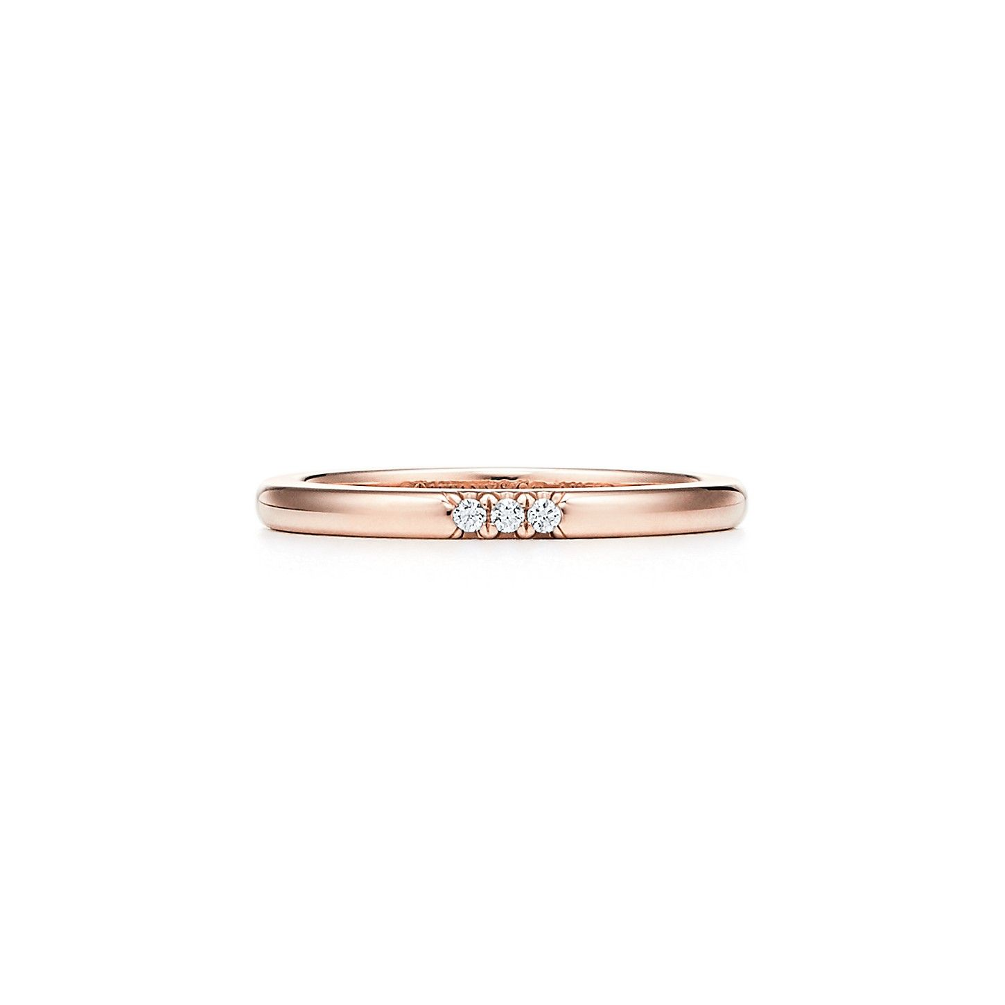 Tiffany Classic Wedding Band Ring In 18k Rose Gold With Diamonds 2 Mm Wide Tiffany Co Wedding Ring Bands Tiffany Wedding Band Wedding Bands