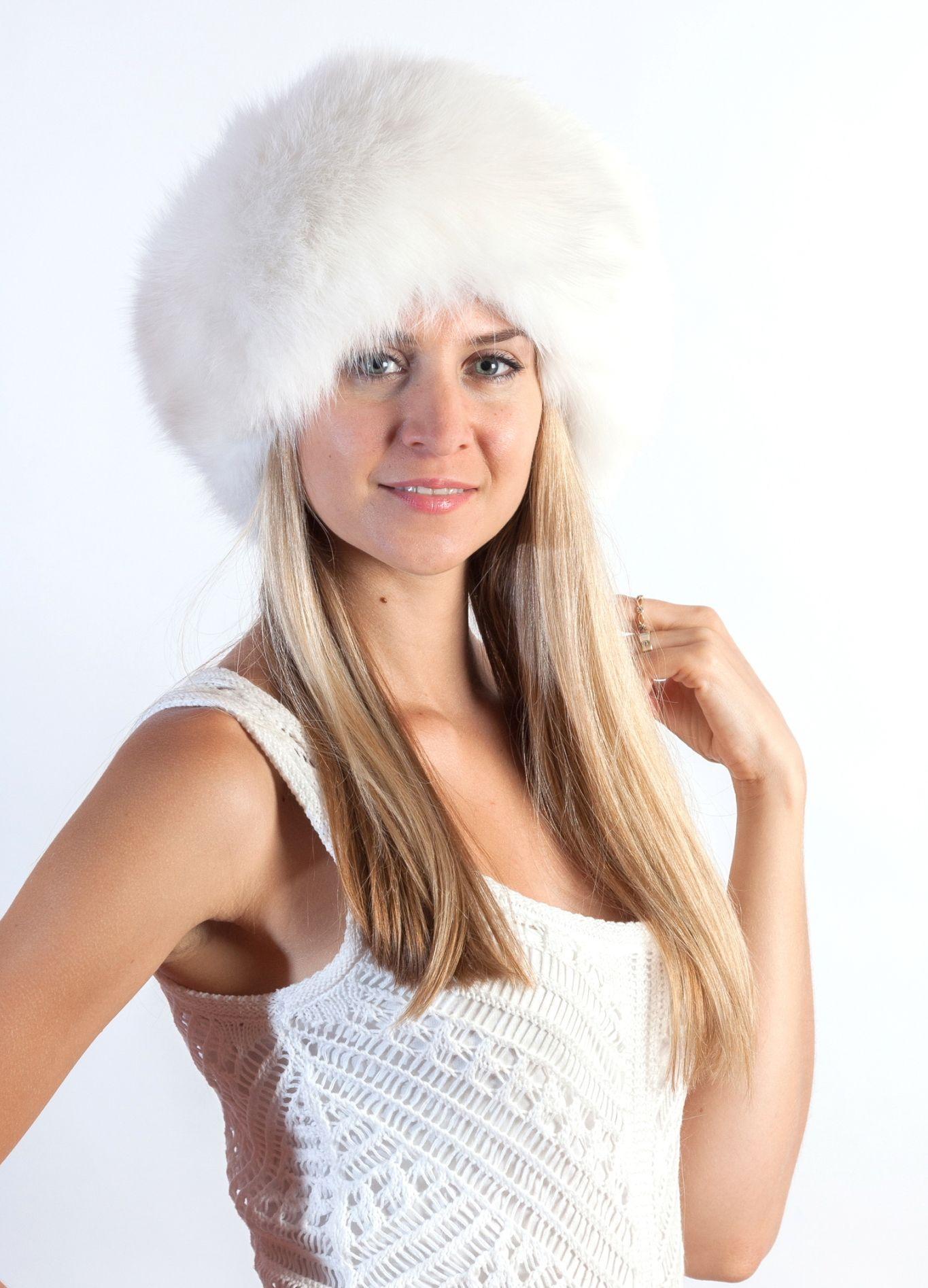 Elegante e soffice fascia scaldafronte-scaldacollo in volpe bianca naturale 09ee5cc7ee82