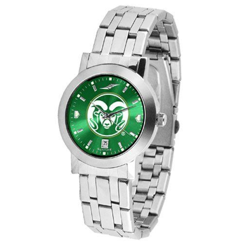 "Colorado State Rams NCAA AnoChrome ""Dynasty"" Mens Watch by SunTime. $84.99. Stainless Steel Case. Date Display. Scratch Resist Face. Elegant design for the modern man or woman who wants to show their team spirit! The dial is presented in a sleek, stainless steel case and bracelet that rests fashionably yet comfortably across the wrist. Features a convenient date display, quartz accurate movement and a scratch resistant mineral crystal face. The AnoChrome dial option increases ..."