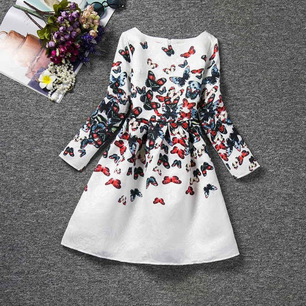 Kids Girls Dresses Butterfly Floral Print Clothing 4-4 Years