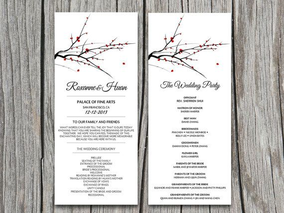 DIY Red Blooming Tree Branch Wedding Program Microsoft Word - ms word menu template