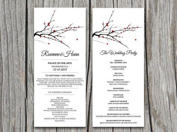 DIY Red Blooming Tree Branch Wedding Program Microsoft Word Template