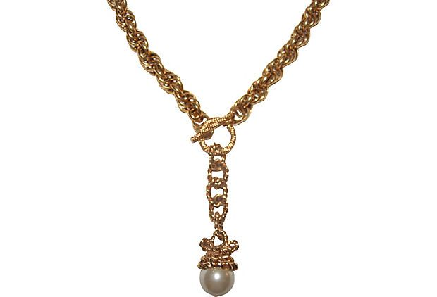 Rope Lariat Necklace w/ Faux Pearl on OneKingsLane.com-- so beautiful!