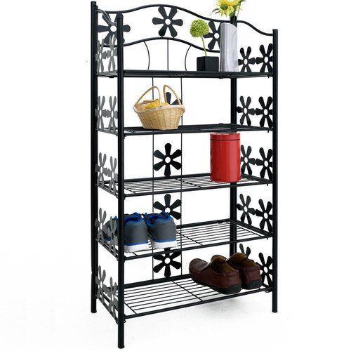 Details About Black Metal Shoes Rack Garden Storage Unit Shelves Patio  Outdoor Beautiful Tall