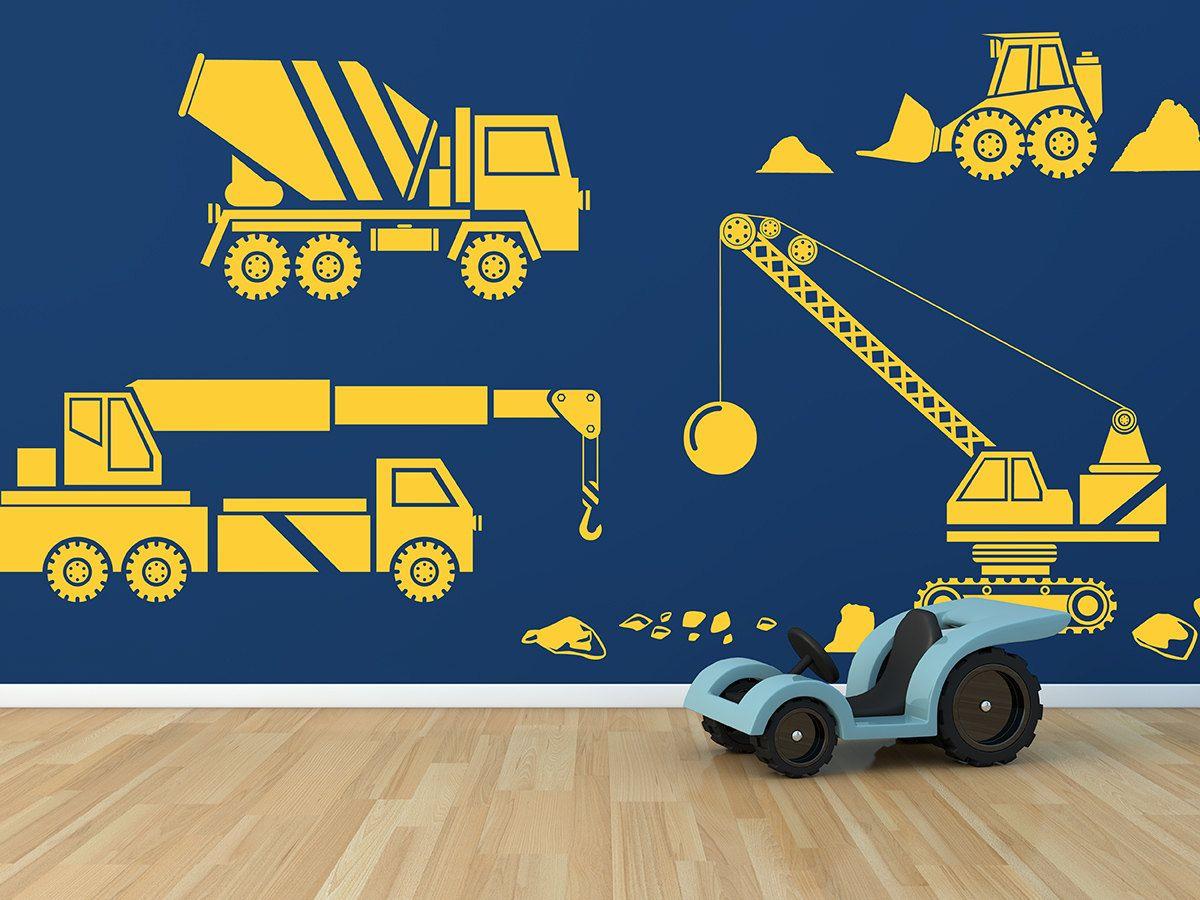 Kids Big Rig Construction Vehicles Set 2 Removable Vinyl