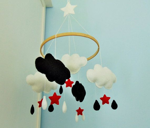 Baby Moblie Cloud Black Red White Newborn Gift By Reczykling With Images Newborn Gifts Black And Red Red And White