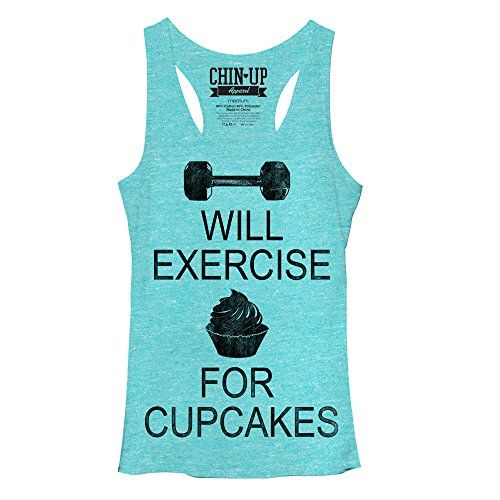 Chin Up Juniors White Heather Will Exercise For Cupcakes Racerback Tank Top Turquoise Heather Medium >>> You can find out more details at the link of the image.Note:It is affiliate link to Amazon.