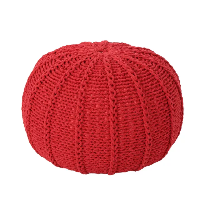 Corisande Knitted Cotton Pouf Christopher Knight Home In 2020