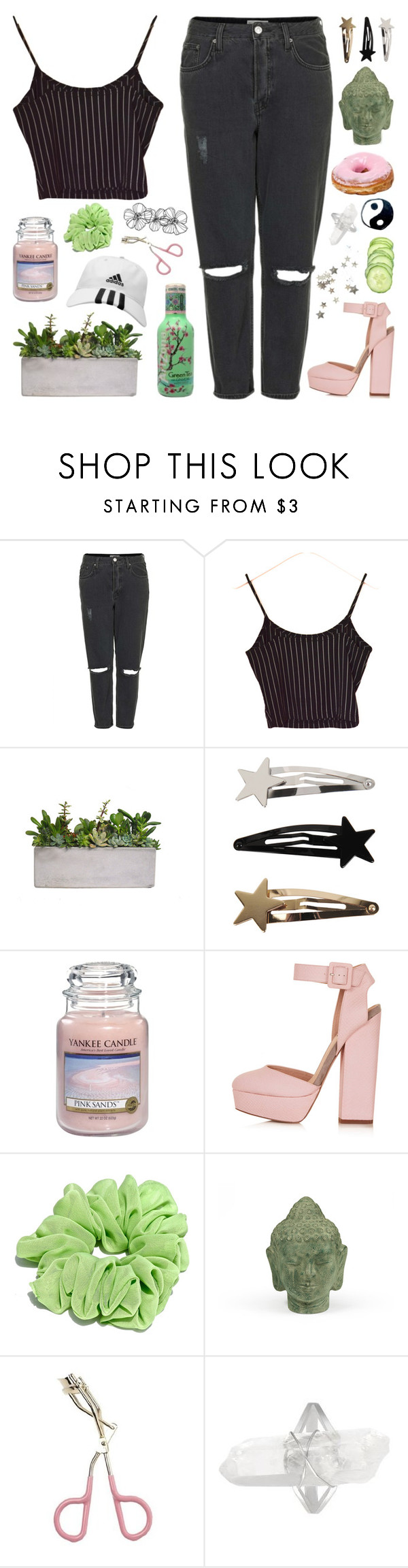 """""""deep breaths"""" by anythingbutjustx ❤ liked on Polyvore featuring Topshop, Yankee Candle, Puji and Etude House"""