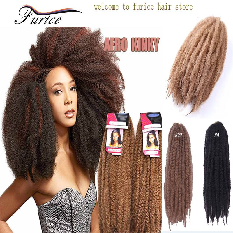 18 Inch Kanekalon Synthetic Marley Braid Hair Extensions Afro Curly Hairstyles Freetress Crochet Braiding