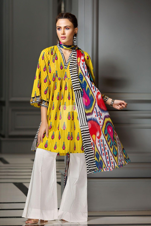 Refreshing Yellow pret unstitched Pakistani pret wear by Nishat ...