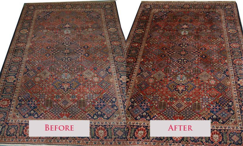 A Before And After Picture Of A Kashan Rug After Our Expert