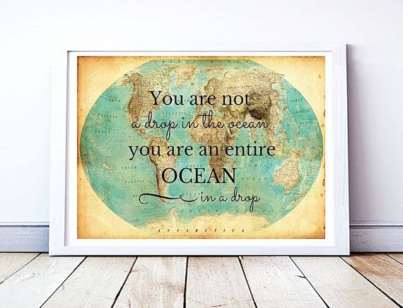 Uplifting quotes large 12x16 print rumi quote art printable a3 rumi quote printable wall art world map by printableknowledge gumiabroncs Choice Image