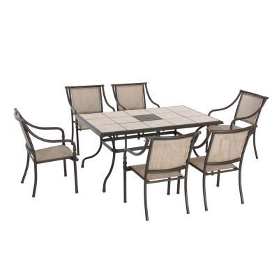 Hampton Bay Laurel Oaks Dark Brown 7 Piece Outdoor Dining Set With
