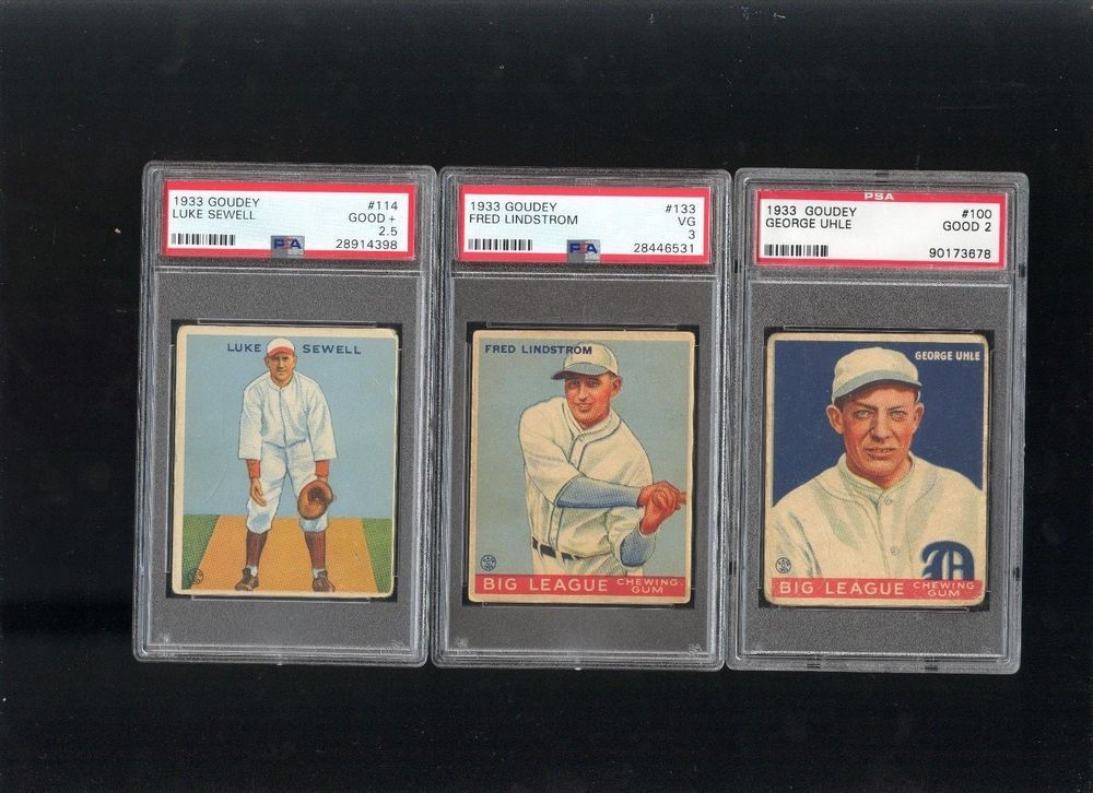 1933 Goudey PSA starter lot group of three cards PRIMO