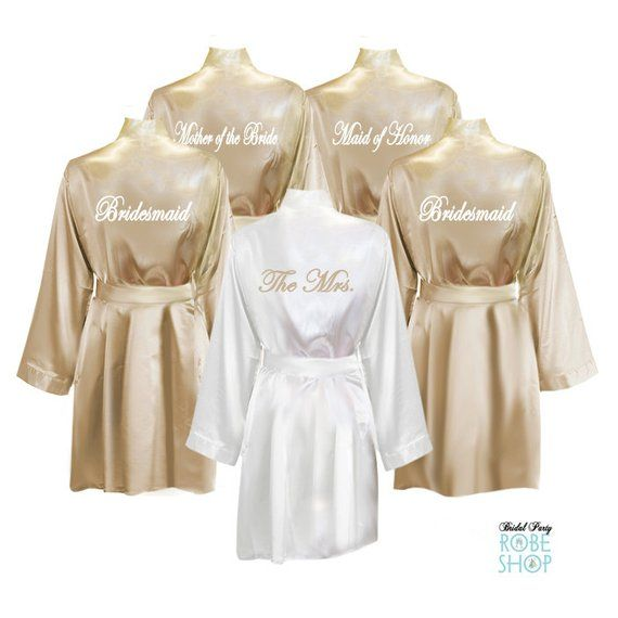 Set of 5 Satin Robes with Titles on Back, bridesmaid robes, bridal party robes, personalized robes, knee length, satin kimono robe, gift