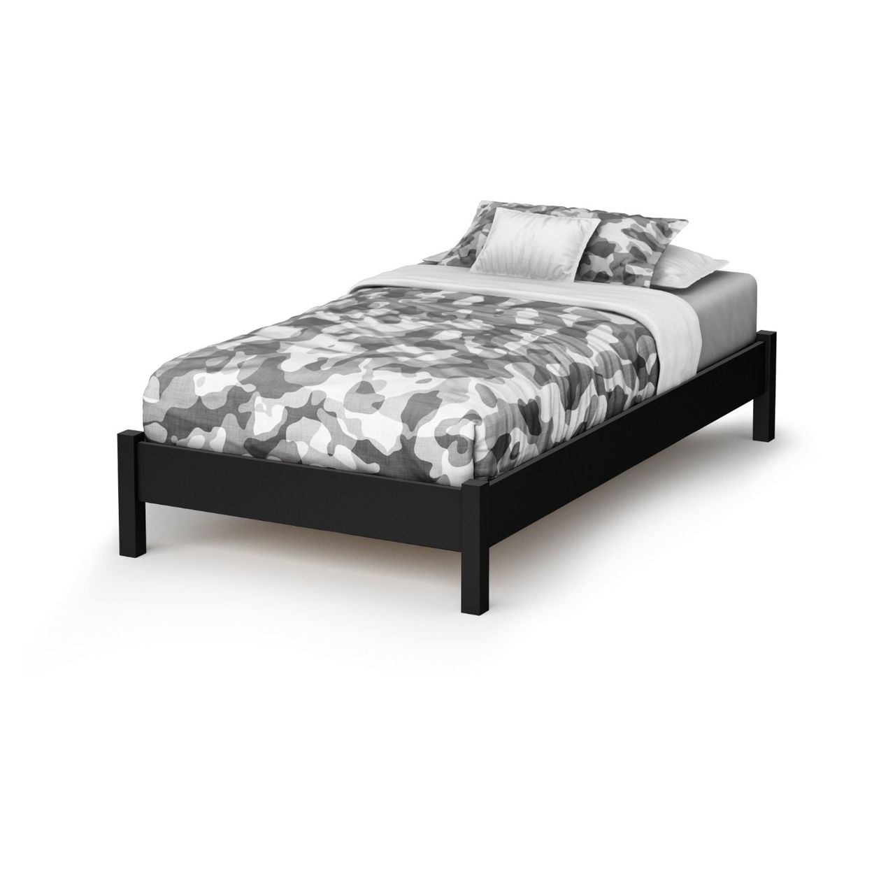 Twin Contemporary Platform Bed Frame In Black Wood Finish Twin