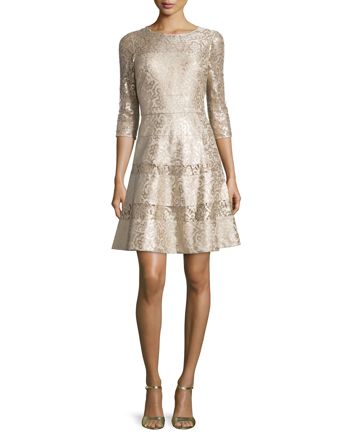 3/4-Sleeve Lace Fit & Flare Dress, Gold Multi - Kay Unger New York ...