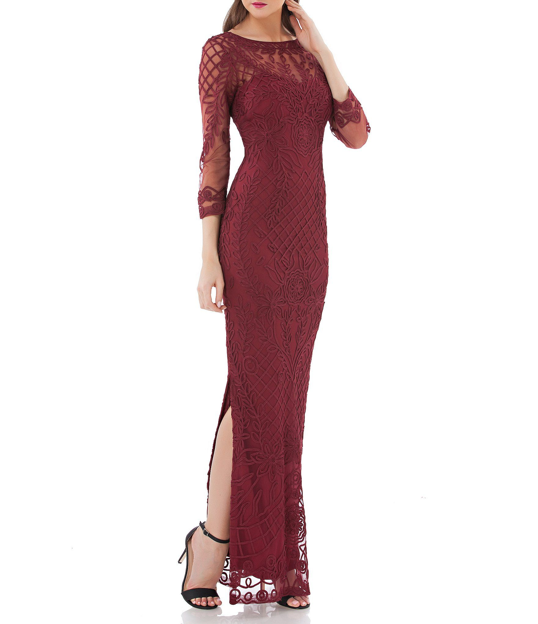 Shop for js collections ribbon soutache illusion sleeve gown at